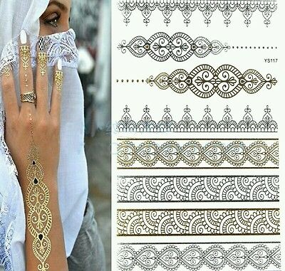 1PC Fashion Flash Waterproof Tattoo for Body  and hair   Gold and silver