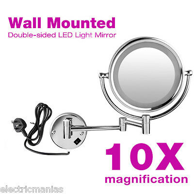 10x Magnified 8.5'' LED illuminated Cosmetic Makeup Mirror Wall Mounted Bathroom