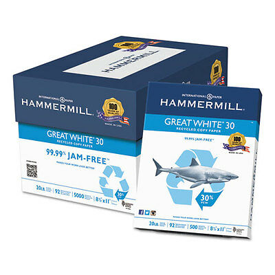 Hammermill Great White Recycled Copy Paper, 92 Brightness, 20lb, 8-1/2 x 11,...