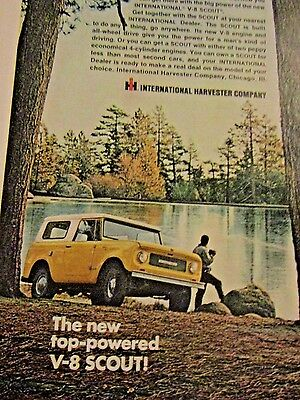 """1966 International Scout Original Print Ad-Power To Find Own Lake-8.5 x 10.5"""""""