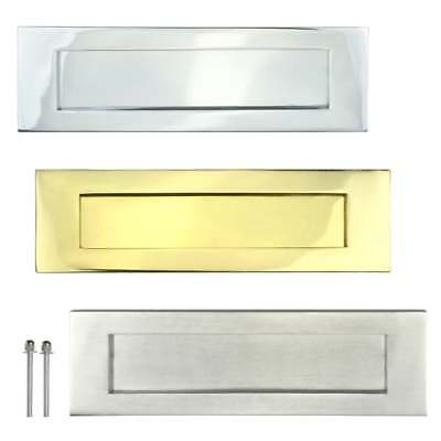 LETTER PLATE BOX Door Letterbox Wood Doors Sprung Flap Chrome Brass 10""