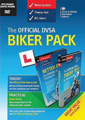 The Official DVSA DVA Motorcycle Theory Test Biker Pack 2 Disc PC MAC DVD