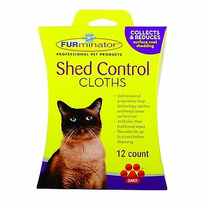 FURminator Shed Control Cat Grooming Cloths Cat Wipes 12s