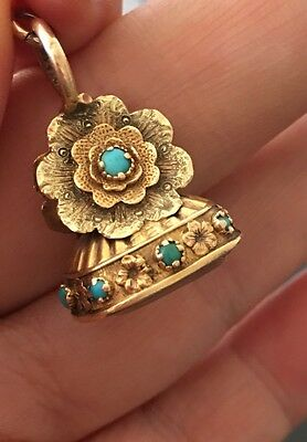 Victorian 15ct Gold Turquoise Set Agate Floral Seal Fob Pendant