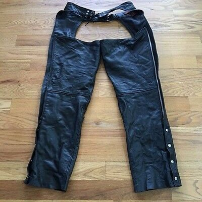 Midtown Cycles Black Leather Full Length Chaps Size XL Motorcycle Riding