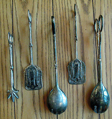 Lot of 5 Silverplate Scissor Tongs Mixed Lot Rogers Silver Plate Serving Pieces