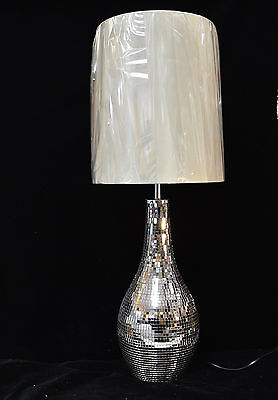 Large Modern Crackle Glass  Mosaic Table Lamp Mink Shade (Famous Brand)