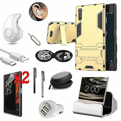 Case Cover+Bluetooth Earphones+Dock Charger Accessory Bundle For Sony Xperia XA