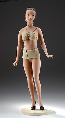 "Rare Vintage 31"" Art Deco Flapper Lingerie Mannequin Doll Counter Store Display"