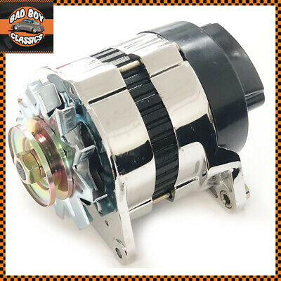 CHROME 18ACR Lucas Type High Output 65 Amp Alternator Pulley & Fan CLASSIC FORD