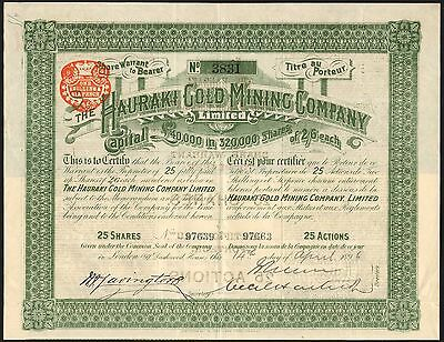 Hauraki Gold Mining Co. Ltd., 25 shares, 1896