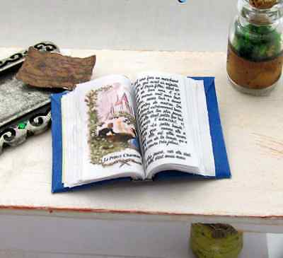Miniature Book -- Open Book BEAUTY AND THE BEAST BLUE BOOK Dollhouse 1:12 Scale