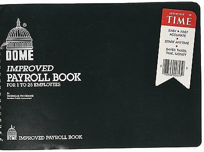 """Dome Improved Payroll Book For 1 to 25 Emplyees 10""""X6.5"""""""