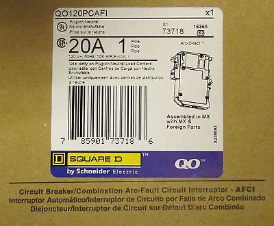 SQUARE D Type QO Plug On Neutral Circuit Breaker Single Pole 20 Amp QO120PCAFI