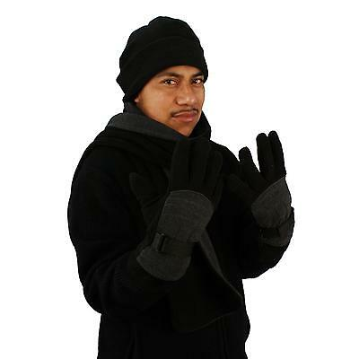 Men's Winter Fleece Hat Scarf Gloves Set Black with Charcoal Gray Medium