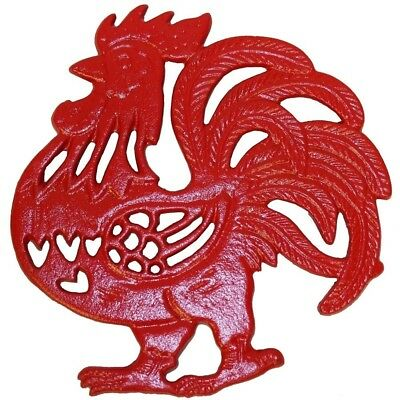 Rustic Country Red Rooster Chicken Trivet Cast Iron Wall Hanging or Table Top