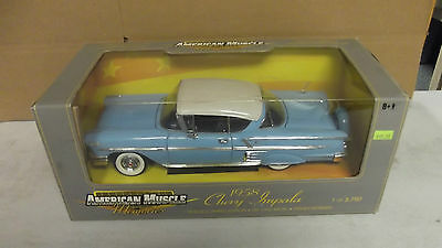 Ertl American Muscle 1958 Chevy Impala Turquoise 1/18 Scale Diecast