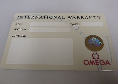 Omega Watch and Chronograph White Plastic International Warranty Card Modified