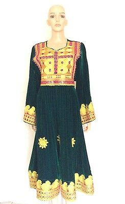 Vintage KUCHI  Dress, TRIBAL Mirror Embroidery Green VELVET ETHNIC Abaya