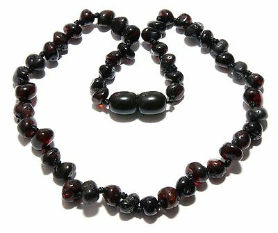 Genuine Baltic Amber Baby Necklace Dark Cherry Black 11.8 - 12.6 in