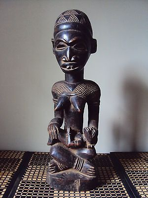 MAKE OFFER POWERFUL ROYAL YOMBE KONGO MOTHER WITH CHILD African Carving Statue!!