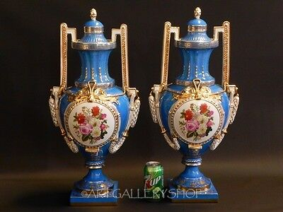 """Antique Imperial Russian Porcelain PAIR 25"""" LARGE VASES URNS HANDPAINTED & GOLD"""