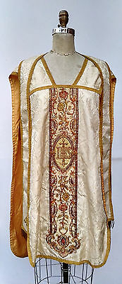 Antique Gold Thread Embroidered Vestment Chasuble Catholic Priest Clergy Stole