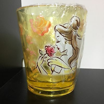 Disney Japan Princess Belle Beauty Beast Acrylic Cup Mug Rose Yellow Watercolor