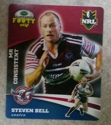 Smiths NRL footy tazos Steven Bell Manly Waringah Sea Eagles