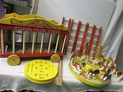 Vintage 1962 Fisher-Price Circus Ring Animals & Ladder Wooden Toy ~ 26 Pieces