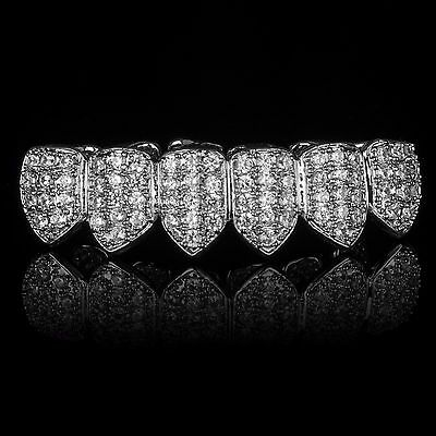 SILVER Plated High Quality CZ Bottom Row GRILLZ Mouth Teeth Grills