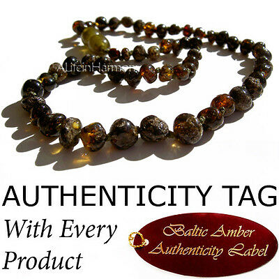 RARE RAW GREEN Baltic Amber Baby Child Necklace