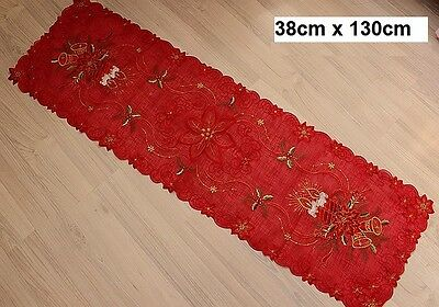 Embroidered Christmas Table Runner 38x130cm Red Trim Candles Decoration 100% New