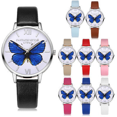 Women Fashion Watch Butterfly Dial Leather Casual Analog Quartz Wrist Watches