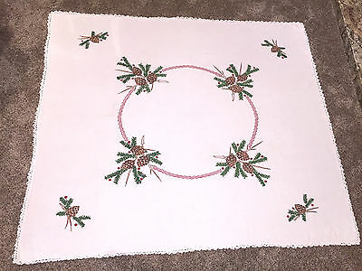 Vintage Tablecloth Embroidered Pinecones Berries Cabin Lodge Rustic Christmas