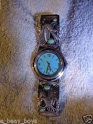 Wristwatch Silver 925 Sterling Turquois Face 2 Side Pieces W/amer. Eagles W/turq