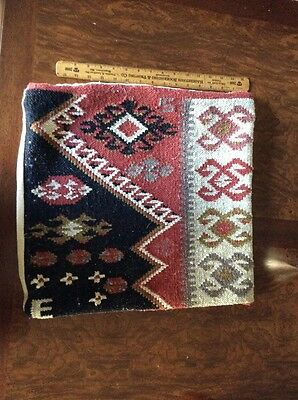 """Turkish Kilim 17"""" By 17"""" Pillow Cover With Pocket For Easy Insert Of Pillow"""
