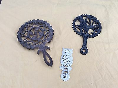 Antique Lot/3 Ornate Cast-Iron Trivets Footed Rooster & Ornate Pot Stand 1 Owl?
