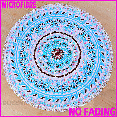 NO FADING! Thick! Round Beach Towel Yoga Picnic Blanket Bedspread Christmas