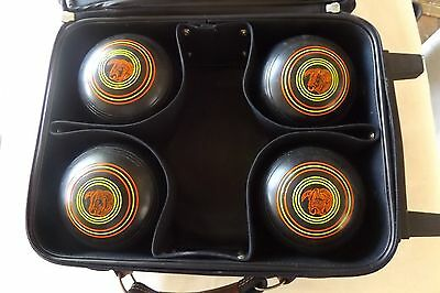 Set Of 4 Lawn Bowls Henselite Tr-701 Size 5 Championship Heavy Weight Model +Bag