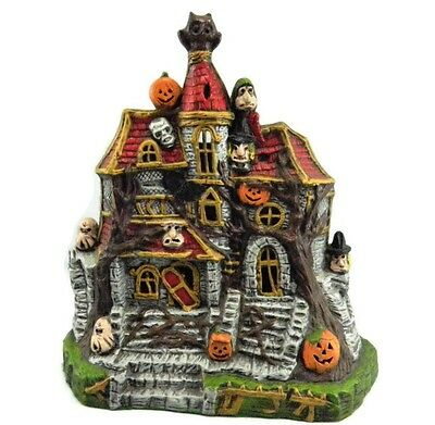 Vintage Halloween Haunted House Ceramic Light Up Castle Witch Jack O Lantern Owl