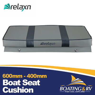 600mm x 400mm Boat Cushion Upholstered Vinyl Marine Tinnie Relaxn Grey Seat