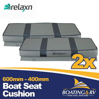 2 x 600mm x 400mm Boat Cushion Upholstered Vinyl Marine Tinnie Relaxn Grey Seat