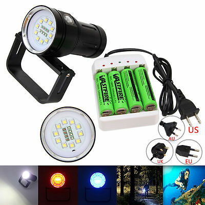 Underwater 100m 12000LM 10x XM-L2+4x R+4x B LED Scuba Diving Flashlight Torch