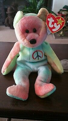 Rare TY Beanie Baby - Peace with tag error