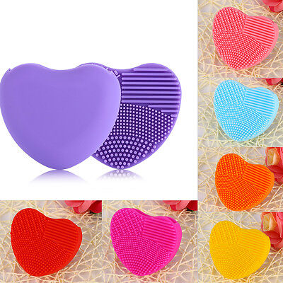 Pro Cleaning Silicone Heart Finger Glove Makeup Sponge Board Washing Scrubber