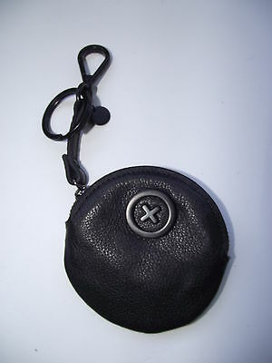 Mimco black leather coin purse/ keyring