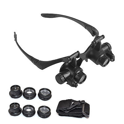 10X 15X 20X 25X LED Glasses Jeweler Magnifier Watch Repair Magnifying Loupe