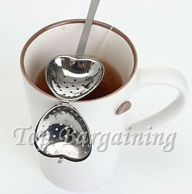 Heart Shape Tea Strainer Steeper Spoon Stainless Steel Teaspoon Infuser Filter