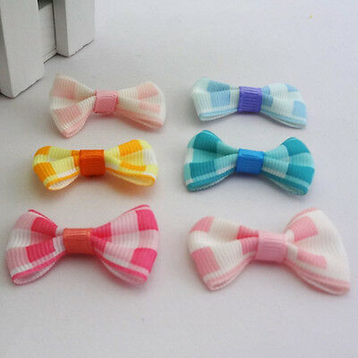 20/40pcs Plaid Grosgrain Ribbon Bow Butterfly Weding/Craft Appliques F97